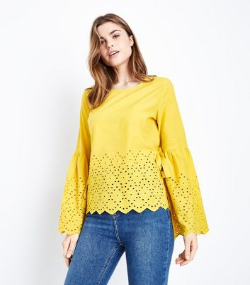 Blue Vanilla Yellow Broderie Bell Sleeve Top