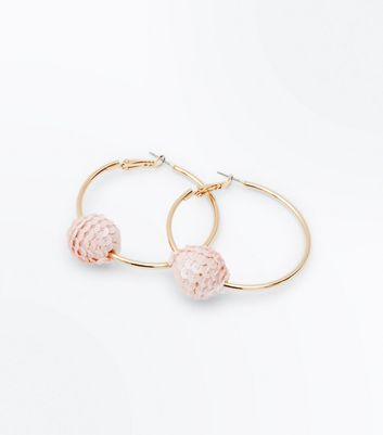 Pale Pink Orb Hoop Earrings