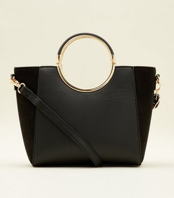 Black Structured Ring Metal Handle Bag by New Look