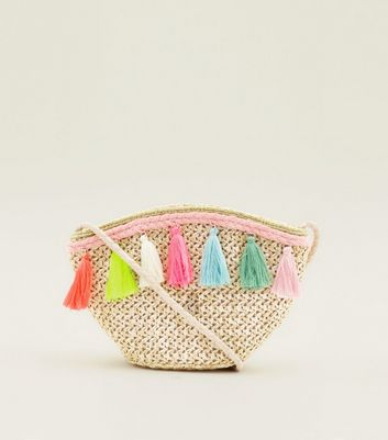 Neon Tassel Woven Straw Bucket Bag