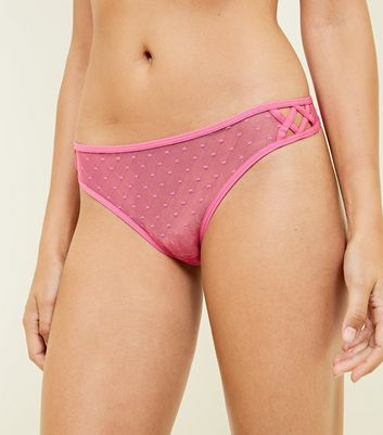 Bright Pink Spot Mesh Lattice Side Thong