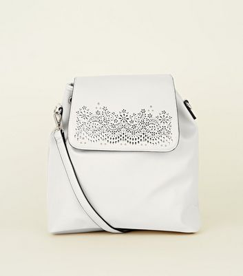 White Cut Out Hobo Backpack