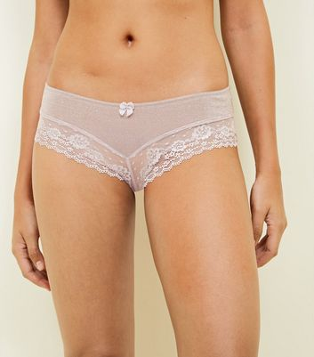 Pink Lace Leg Brazilian Briefs