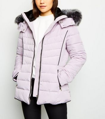 Lilac Faux Fur Trim Hooded Puffer Jacket