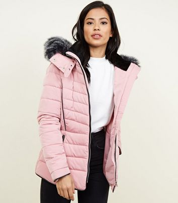 Mid Pink Faux Fur Trim Hooded Puffer Jacket