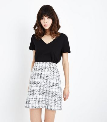 White Boucle Check Mini Skirt