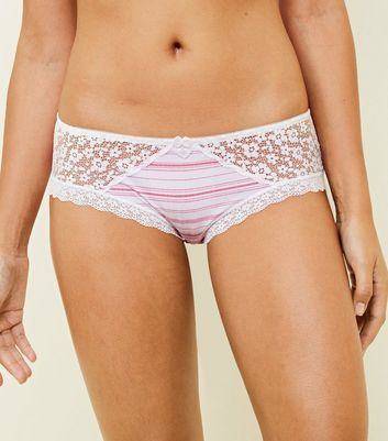 Pink Stripe Lace Trim Briefs