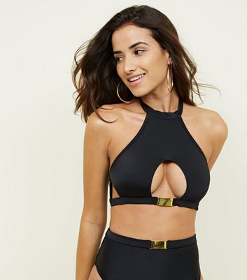 Black Cut-Out Hardware High Neck Bikini Top