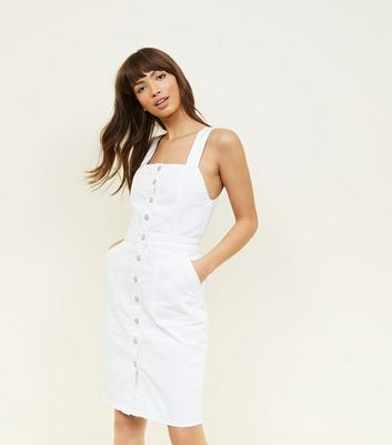White Denim Button Front Pinafore Dress