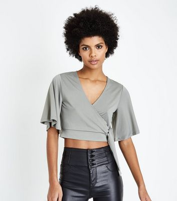 Olive Green Cape Sleeve Crop Top