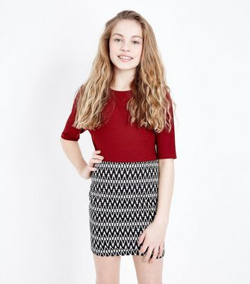Teens Black Zig Zag Jacquard Skirt
