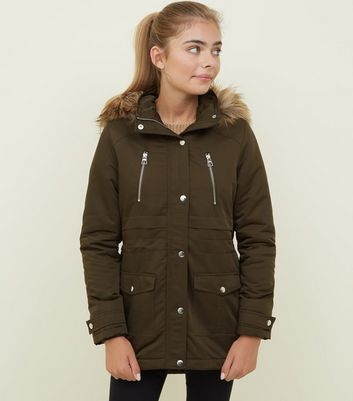 Girls Khaki Faux Fur Hooded Parka