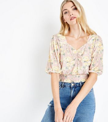 Pink Floral Print Shirred Hem Top