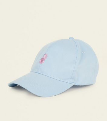 Pale Blue Pineapple Embroidered Cap