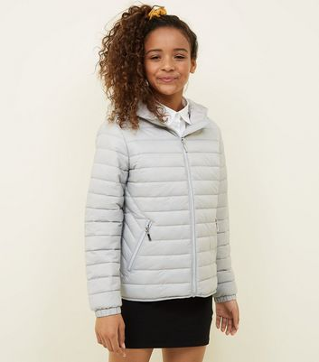 Girls Grey Lightweight Hooded Puffer Jacket