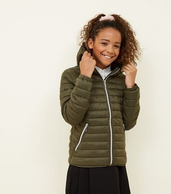 Girls Khaki Lightweight Hooded Puffer Jacket