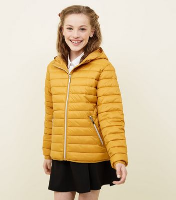 Girls Mustard Lightweight Hooded Puffer Jacket