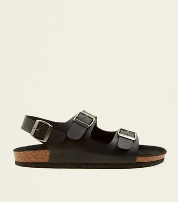 Black Double Buckle Strap Footbed Sandals