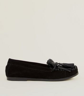 Black Suede Whipstitch Fringe Trim Loafers