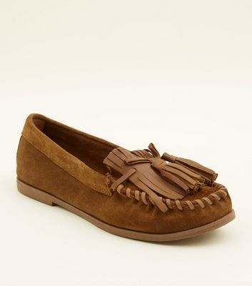 Tan Suede Whipstitch Fringe Trim Loafers
