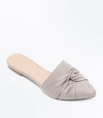 Grey Suedette Twist Front Pointed Mules