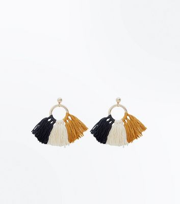 Multicoloured Tassel Hoop Trim Earrings