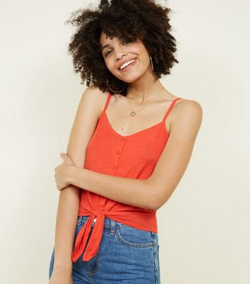 Orange Button Tie Front Cami Top