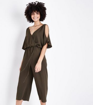 Khaki Wrap Front Cold Shoulder Jumpsuit