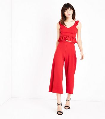 Red High Waist Culottes