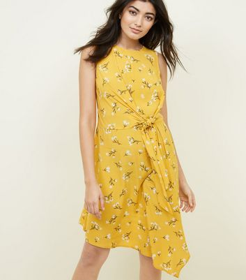 Yellow Floral Tie Side Asymmetric Dress