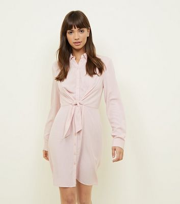 Mid Pink Tie Front Shirt Dress