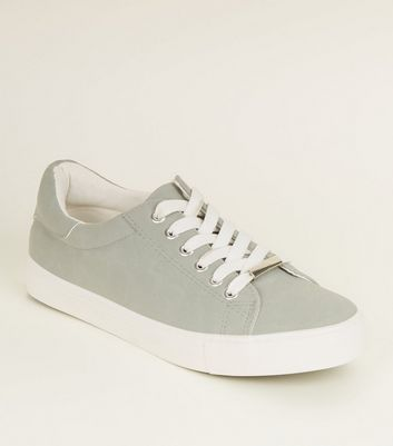 Mint Green Canvas Chunky Lace Up Trainers