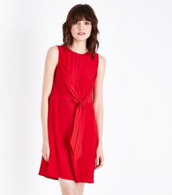 Red Tie Front Mini Dress