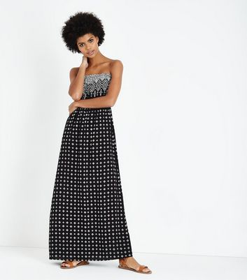 Black Tile Border Print Bandeau Maxi Dress