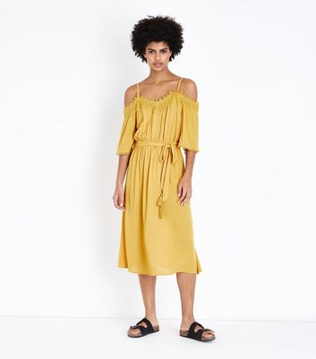 Mustard Crochet Trim Cold Shoulder Midi Dress