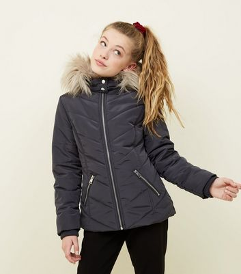 Girls Grey Faux Fur Trim Hooded Parka
