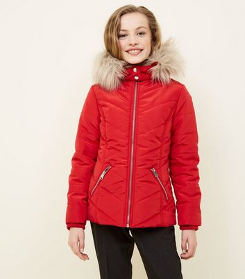 Girls Red Faux Fur Trim Hooded Parka