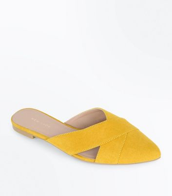 Yellow Suedette Cross Strap Pointed Mules