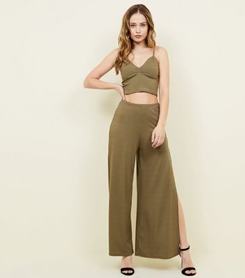 Khaki Ribbed Flared Split Side Trousers
