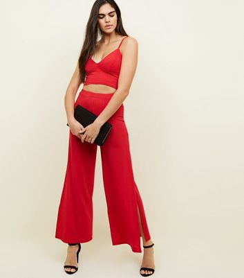Red Ribbed Flared Side Split Trousers        Red Ribbed Bralet by New Look