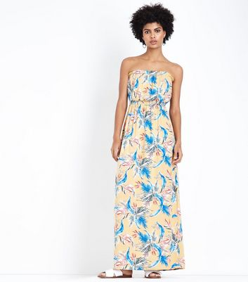 Yellow Tropical Floral Print Bandeau Maxi Dress