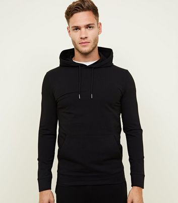 Black Muscle Fit Hoodie by New Look