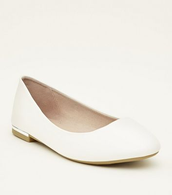 Wide Fit White Metal Heel Ballet Pumps by New Look