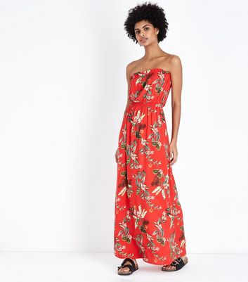 Red Tropical Floral Bandeau Maxi Dress