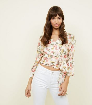Cream Floral Satin Wrap Front Top