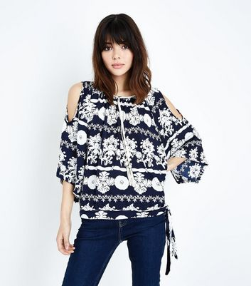 QED Navy Floral Tassel Front Cold Shoulder Top