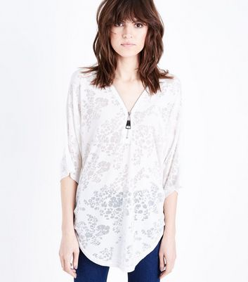 QED White Floral Burnout Top