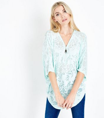 QED Green Floral Burnout Zip Neck Top