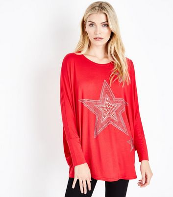 QED Red Star Embellished Oversized Top