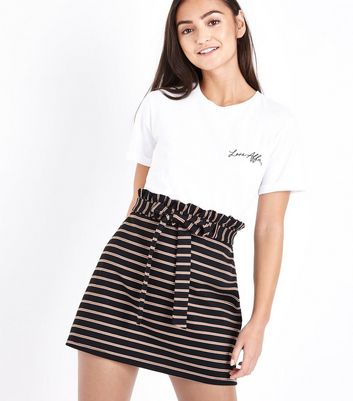 Petite Black Stripe Paperbag Waist Skirt